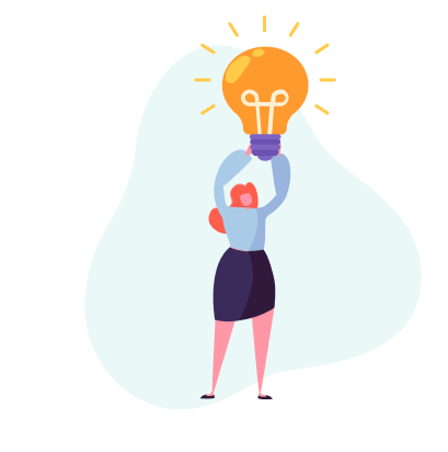 ilustração de mulher segurando uma lâmpada acesa, representando economia