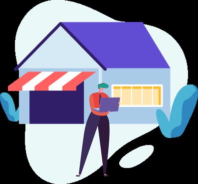 ilustração de negócio ou casa com descontos na conta de energia